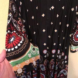 White Mark Dresses - Black Paisley and Floral Dress